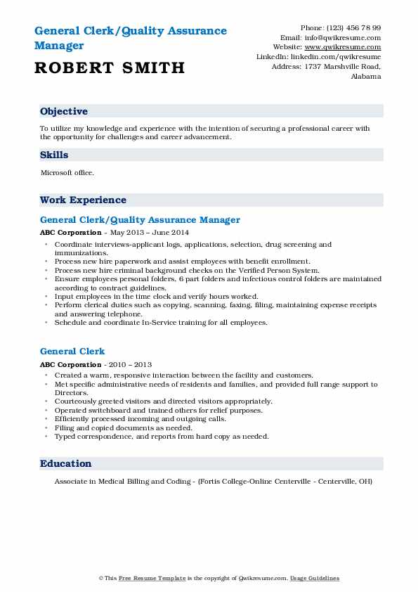 General Clerk/Quality Assurance Manager Resume Sample