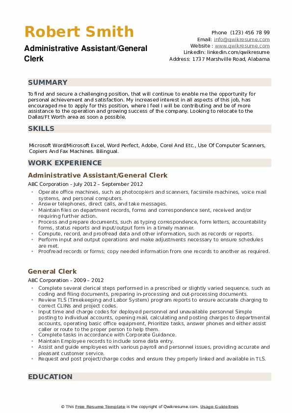 Administrative Assistant/General Clerk Resume Sample