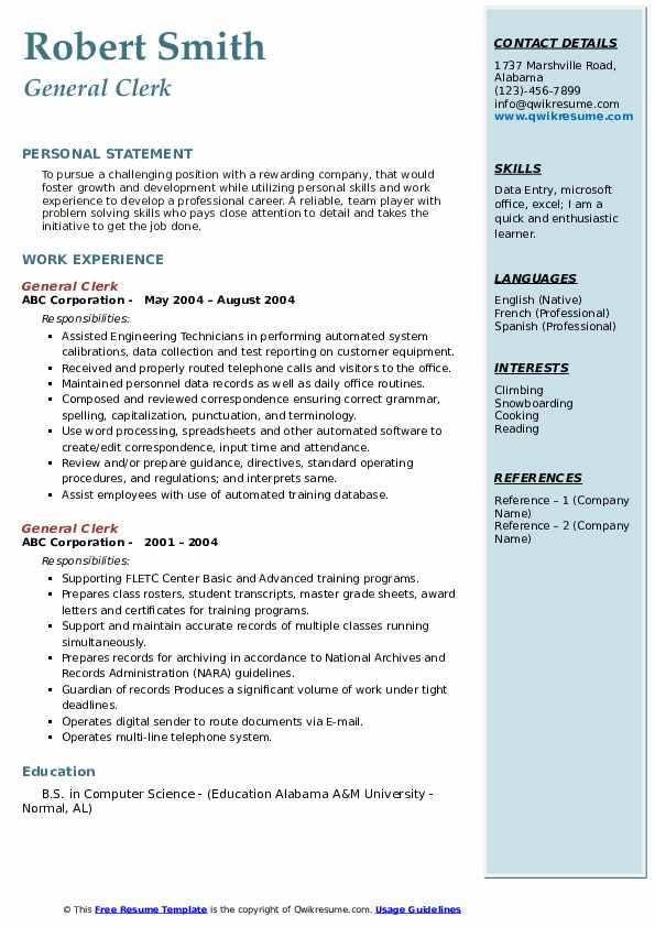 General Clerk Resume example