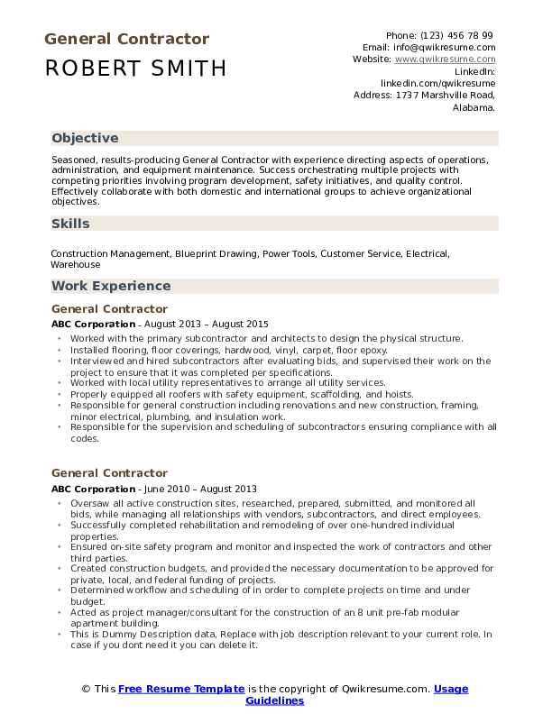 General Contractor Resume Samples | QwikResume