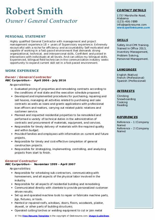 general contractor resume samples