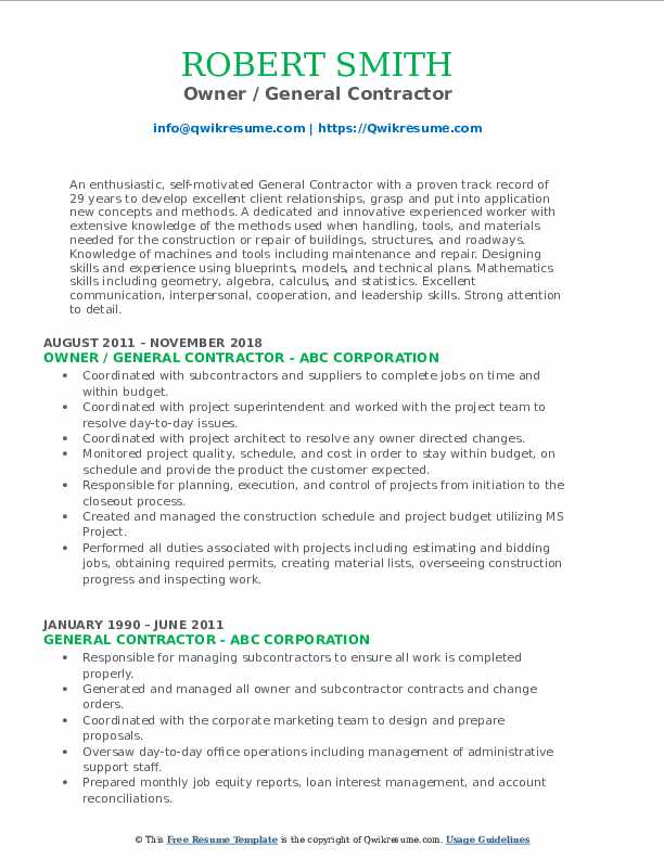 Owner General Contractor Resume Format