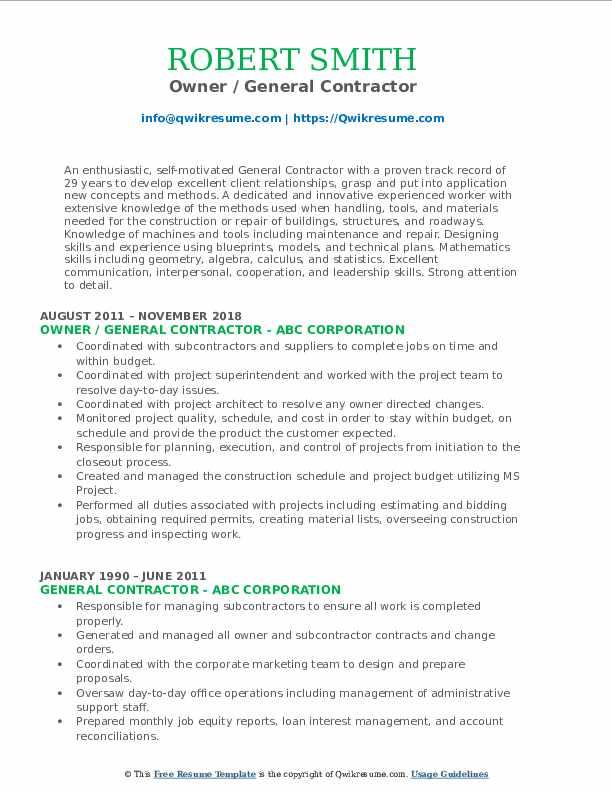 Owner / General Contractor Resume Format