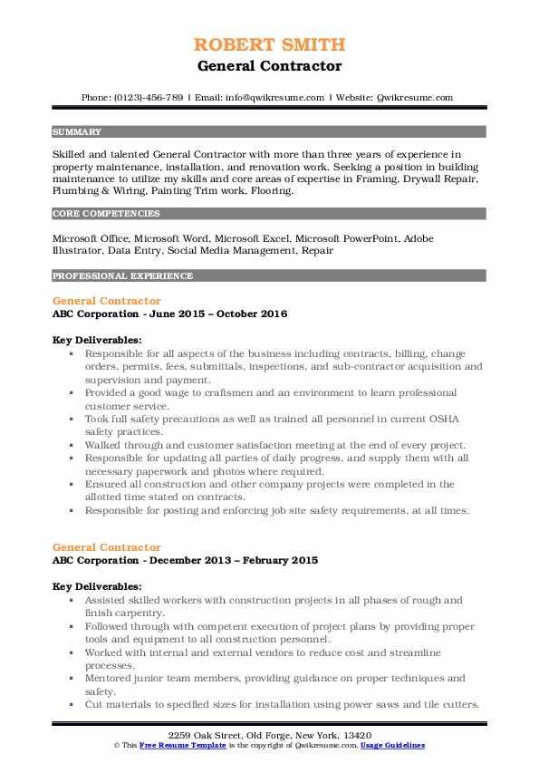 General Contractor Resume Format