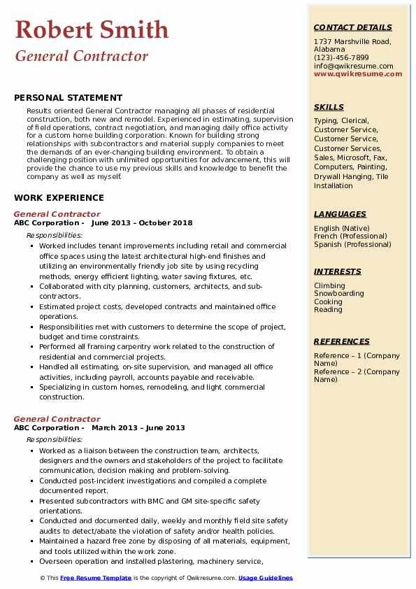 General Contractor Resume Sample