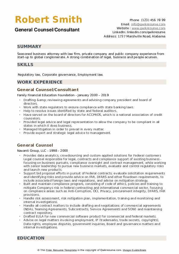 general counsel resume samples  qwikresume