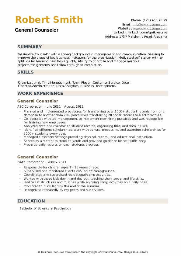 General Counselor Resume example