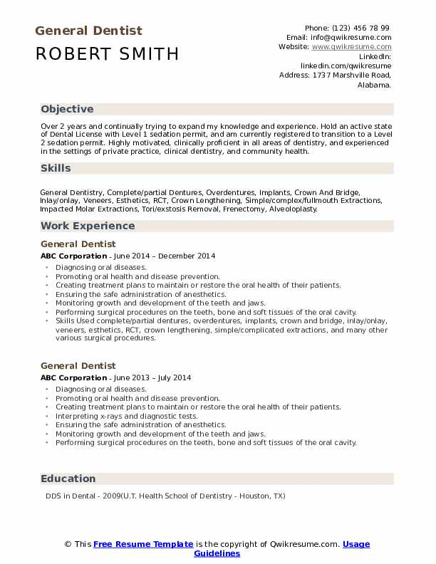 General Dentist Resume Samples Qwikresume