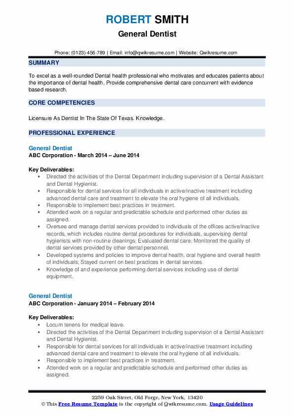 General Dentist Resume Format