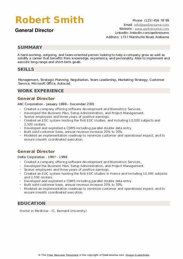 General Director Resume example