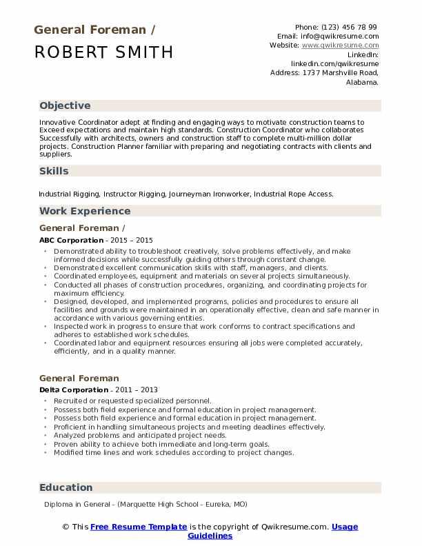 General Foreman Resume example