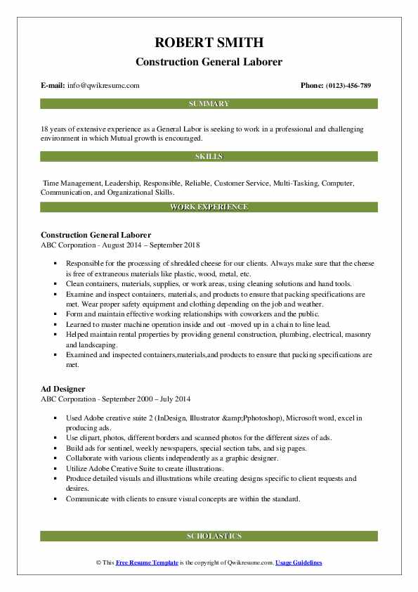 general labor resume samples