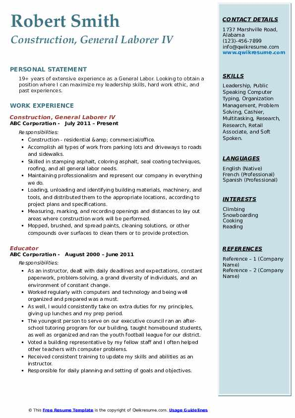Construction, General Laborer IV Resume Model