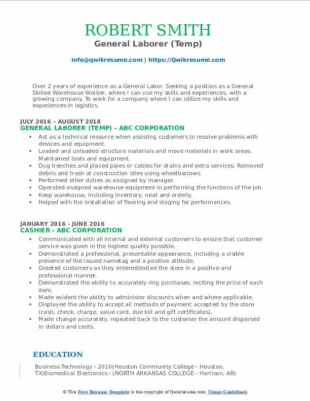 General Laborer (Temp) Resume Model