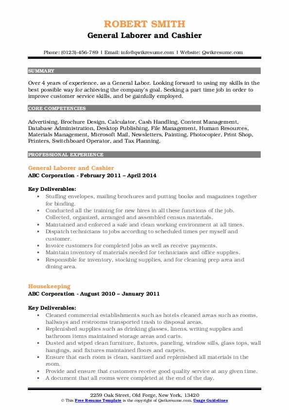General Laborer and Cashier Resume Model