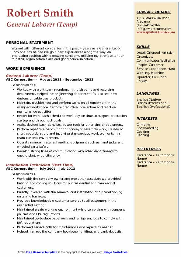 General Laborer (Temp) Resume Example