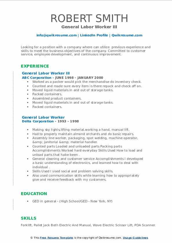 Resume Objective Statements For General Labor لم يسبق له مثيل