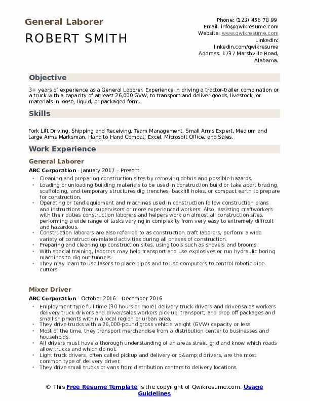 General Laborer Resume Samples Qwikresume