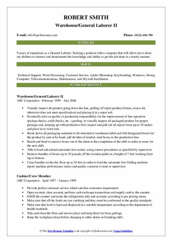 Warehouse/General Laborer II Resume Example