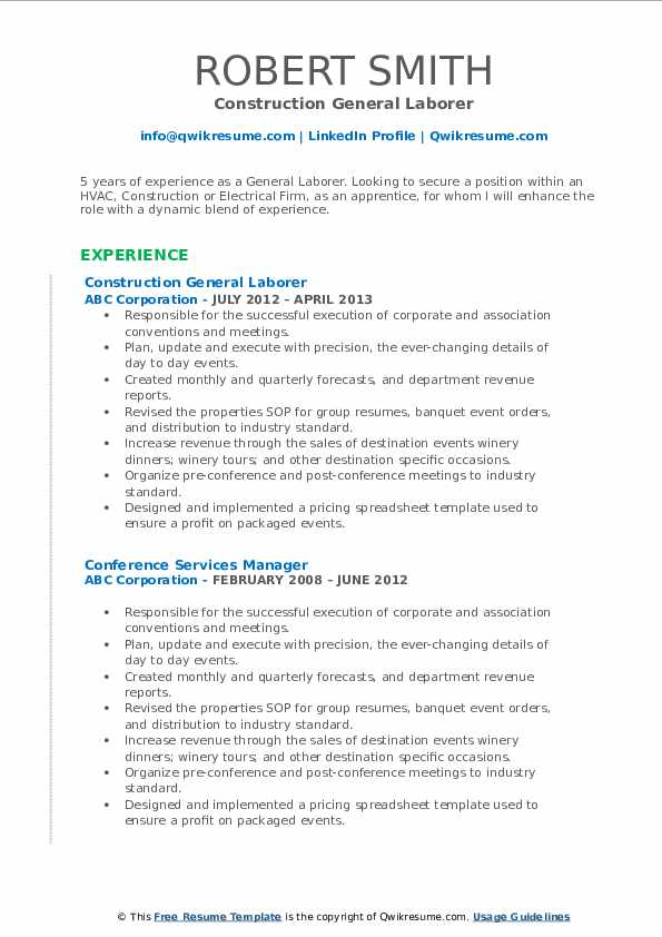 Construction General Laborer Resume Example