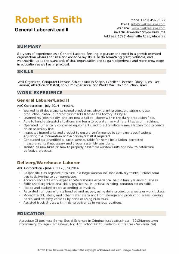 General Laborer Resume example