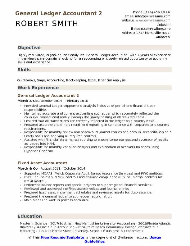 General Ledger Accountant 2 Resume Format
