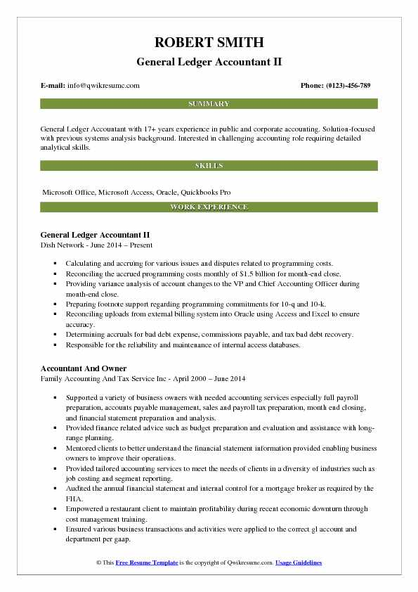 General Ledger Accountant II Resume Model