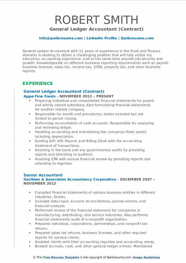 General Ledger Accountant (Contract) Resume Format