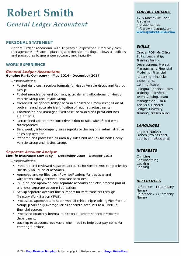 General Ledger Accountant Resume Sample