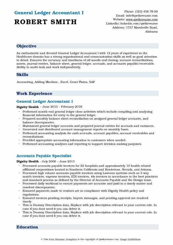 General Ledger Accountant I Resume Format