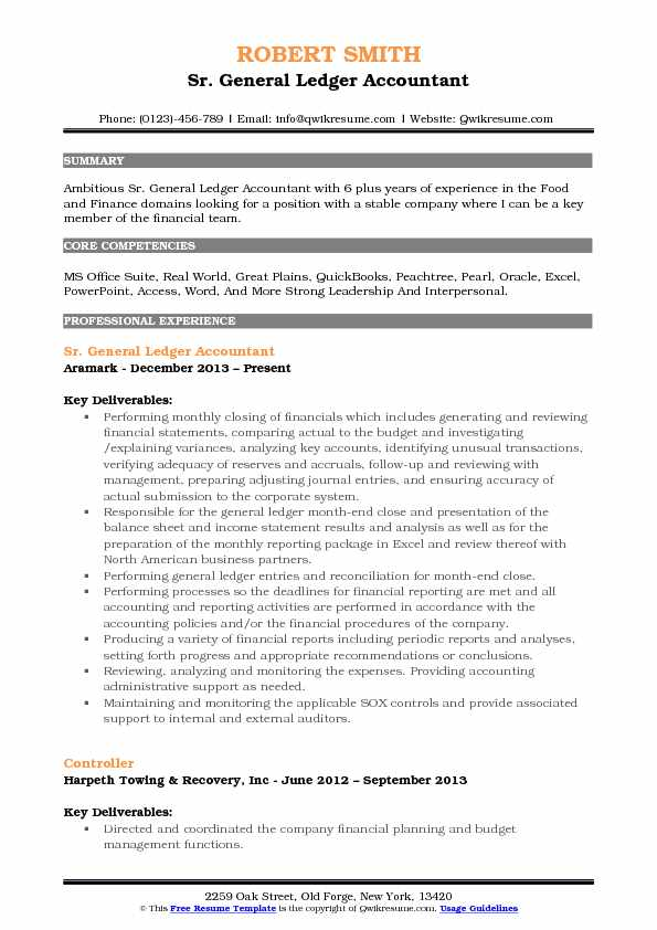 Sr. General Ledger Accountant Resume Format