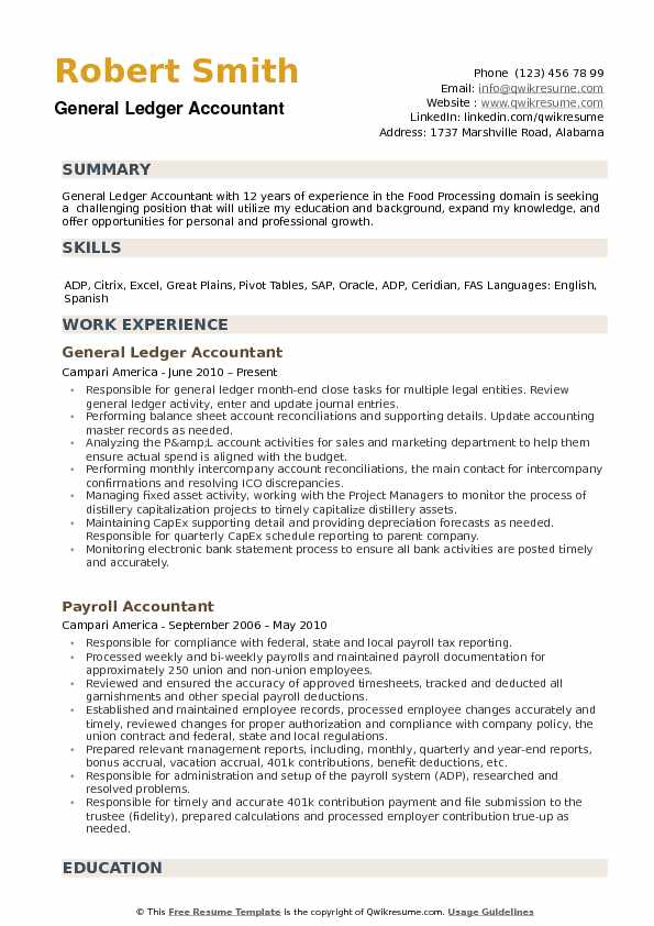 General Ledger Accountant Resume