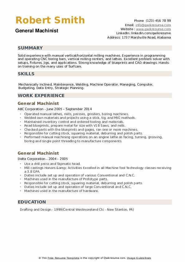 General Machinist Resume example
