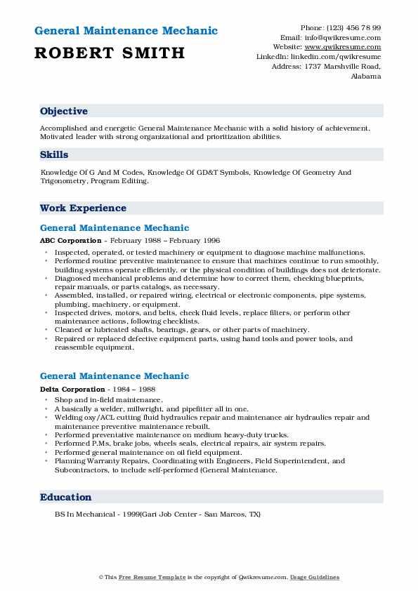 general maintenance mechanic resume samples  qwikresume