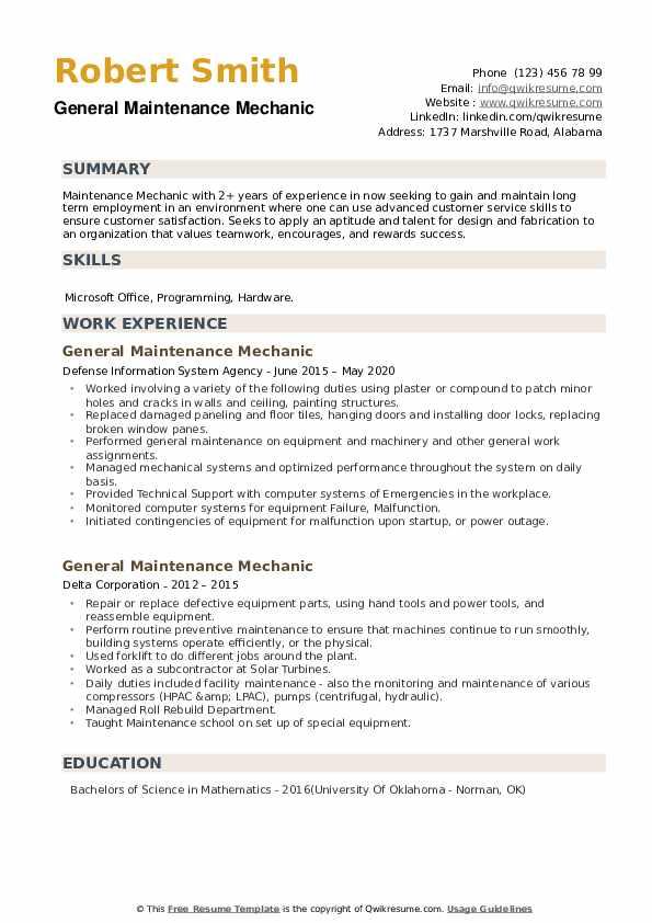 General Maintenance Mechanic Resume example