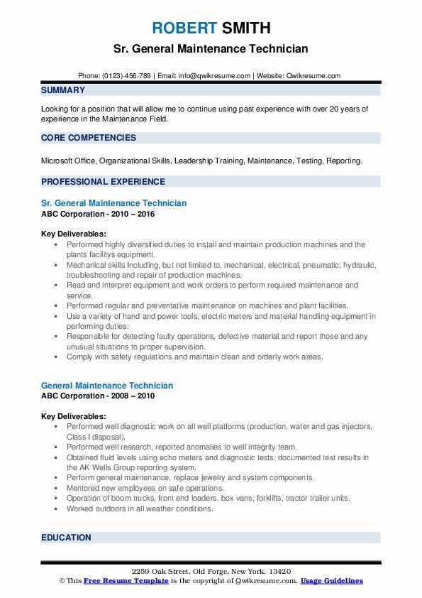 Sr. General Maintenance Technician Resume Sample