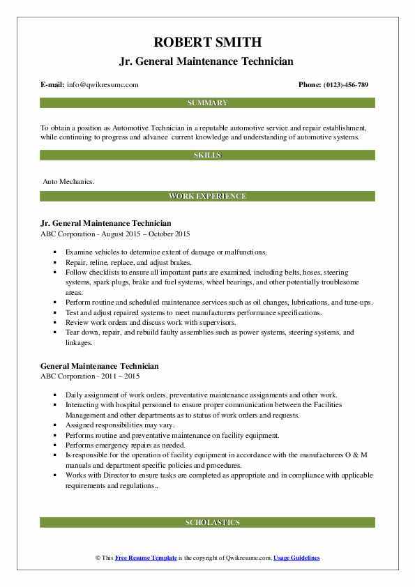 Jr. General Maintenance Technician  Resume Model