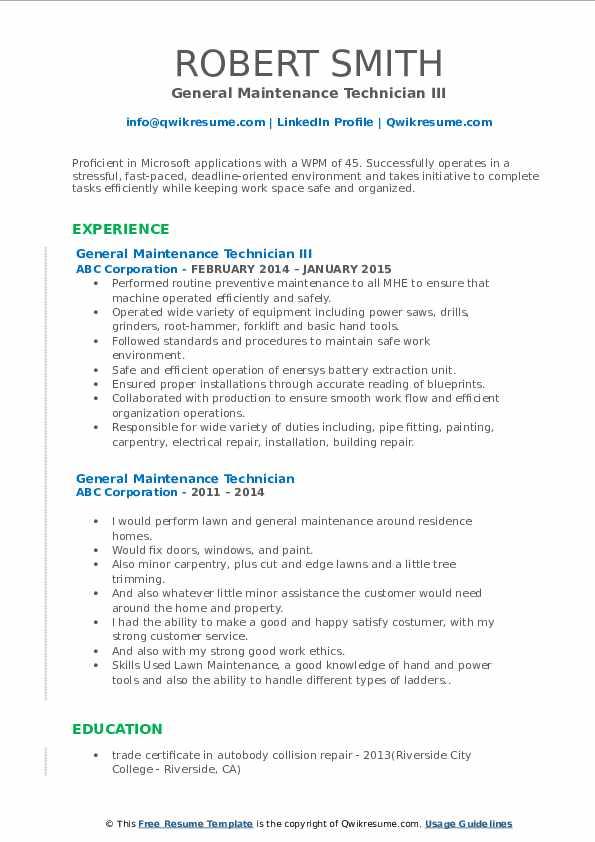 General Maintenance Technician III Resume Format