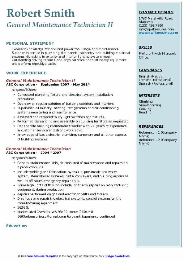 General Maintenance Technician II Resume Format