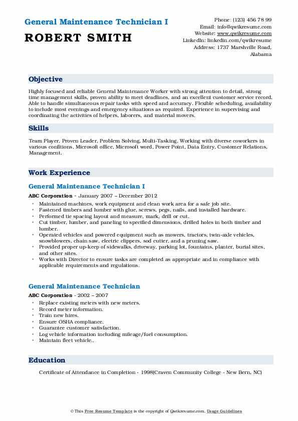 General Maintenance Technician I Resume Sample