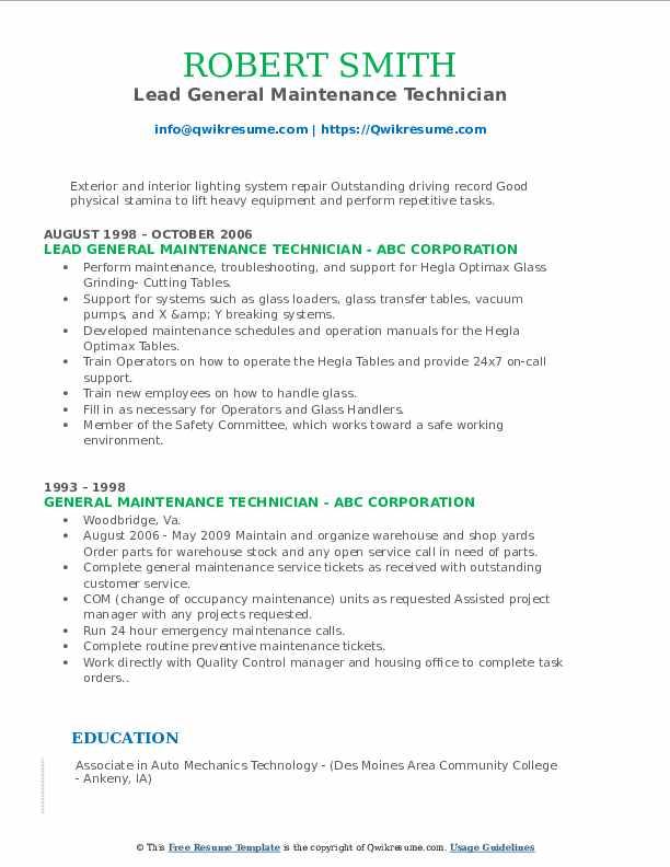 Lead General Maintenance Technician Resume Example