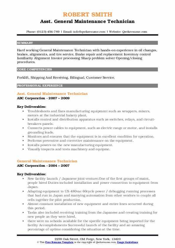 Asst. General Maintenance Technician Resume Format