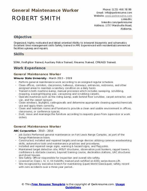General Maintenance Worker Resume Sample