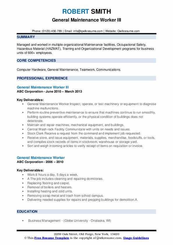 General Maintenance Worker III Resume Model