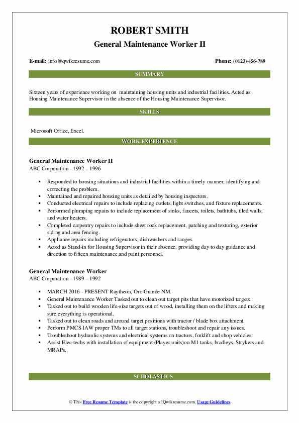 General Maintenance Worker II Resume Template