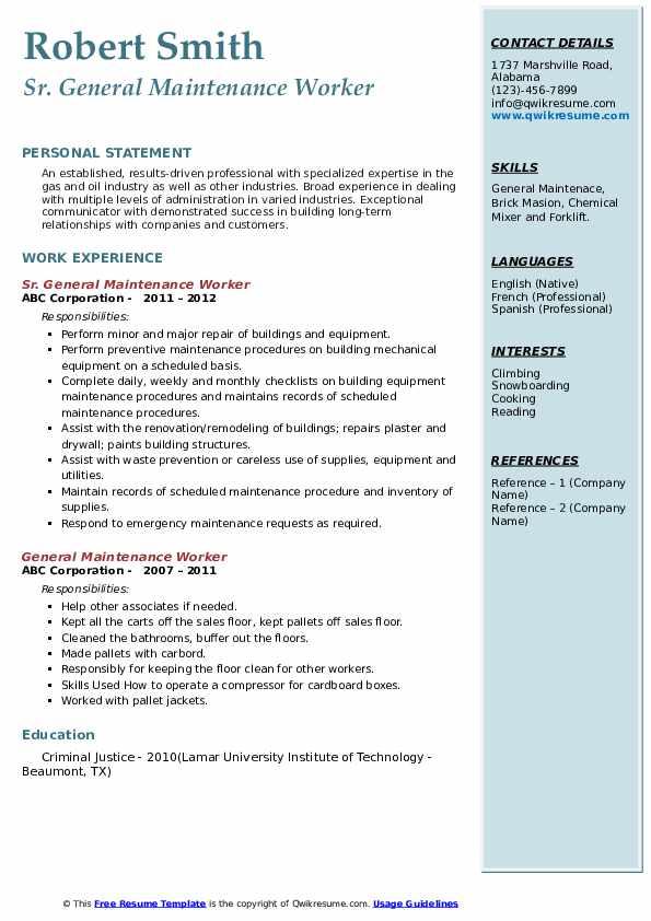 Sr. General Maintenance Worker Resume Model