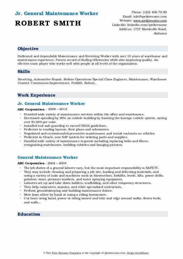 Jr. General Maintenance Worker Resume Template