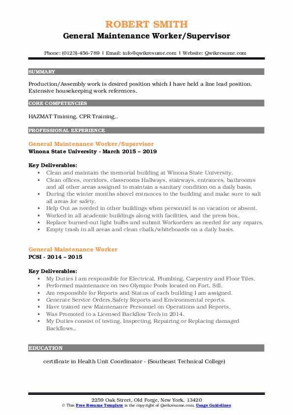 General Maintenance Worker/Supervisor Resume Sample