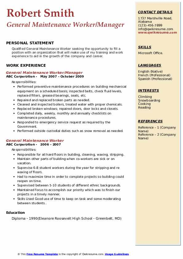 General Maintenance Worker/Manager Resume Template