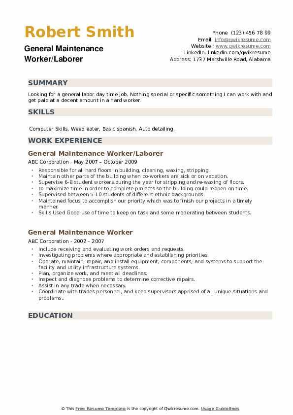General Maintenance Worker/Laborer Resume Format